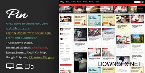 ThemeForest - Pin v3.7.1 - Pinterest Style / Personal Masonry Blog / Front-end Submission - 10272975