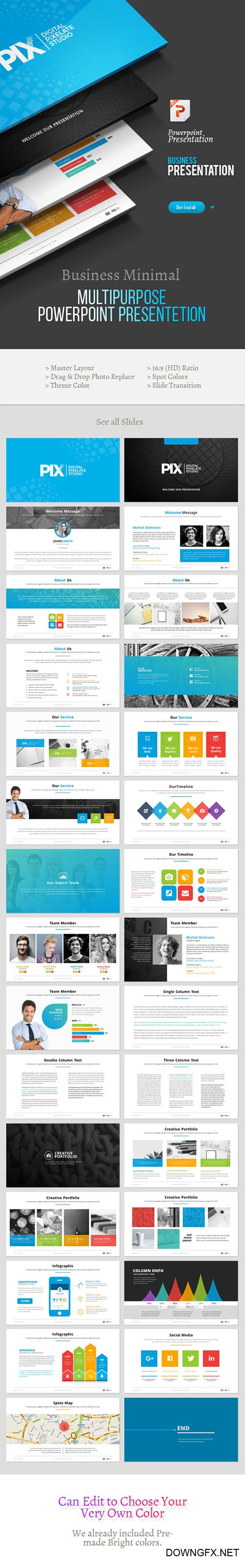 GR - WhitePix Business Multipurpose Powerpoint Template 21550122