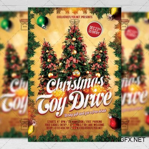 Seasonal A5 Flyer Template - Toy Drive