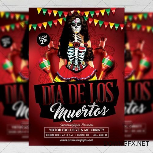 Seasonal A5 Flyer Template - Dia De Los Muertos Night