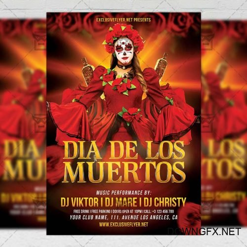 Seasonal A5 Flyer Template - Dia De Los Muertos Celebration