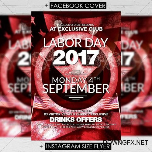 Premium A5 Flyer Template - Labor Day Celebration