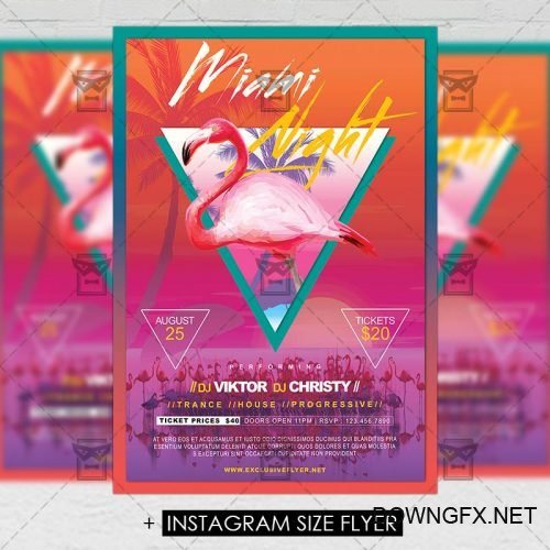 Premium A5 Flyer Template - Miami Night
