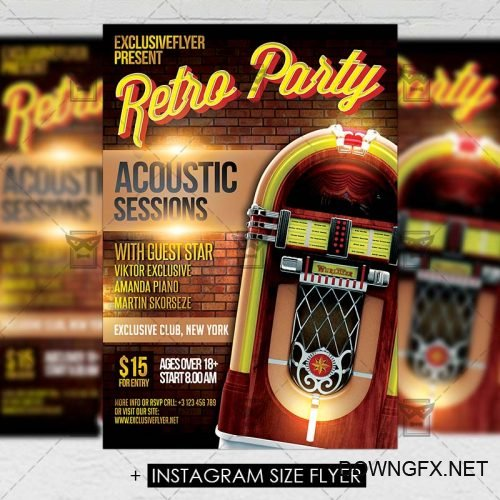 Premium A5 Flyer Template - Retro Party