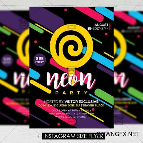 Premium A5 Flyer Template - Neon Party