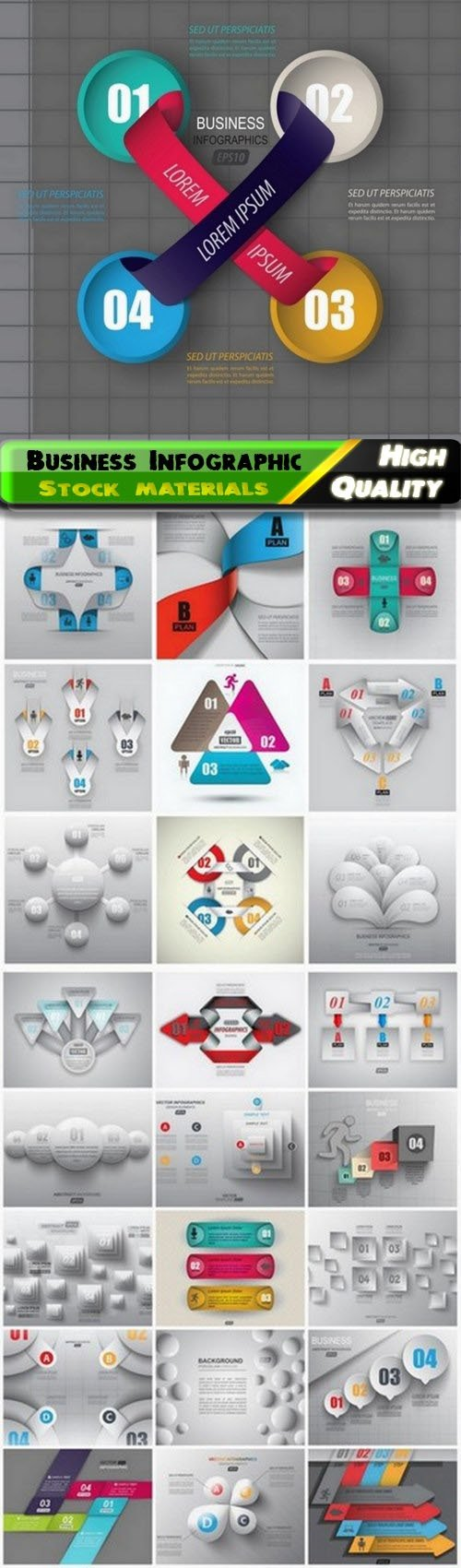Business Infographic elements with shape for text 25 Eps