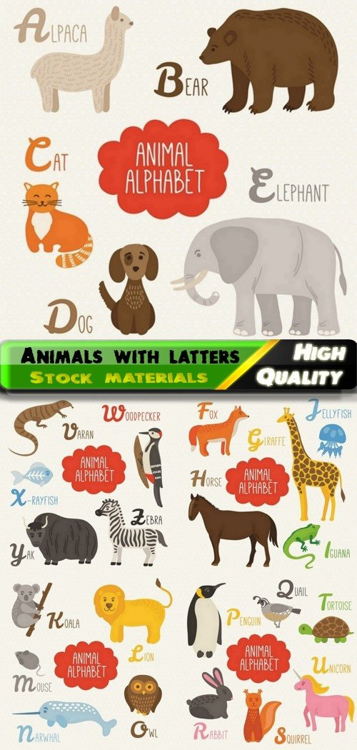 Wild african animals with alphabet letters for children 5 Eps