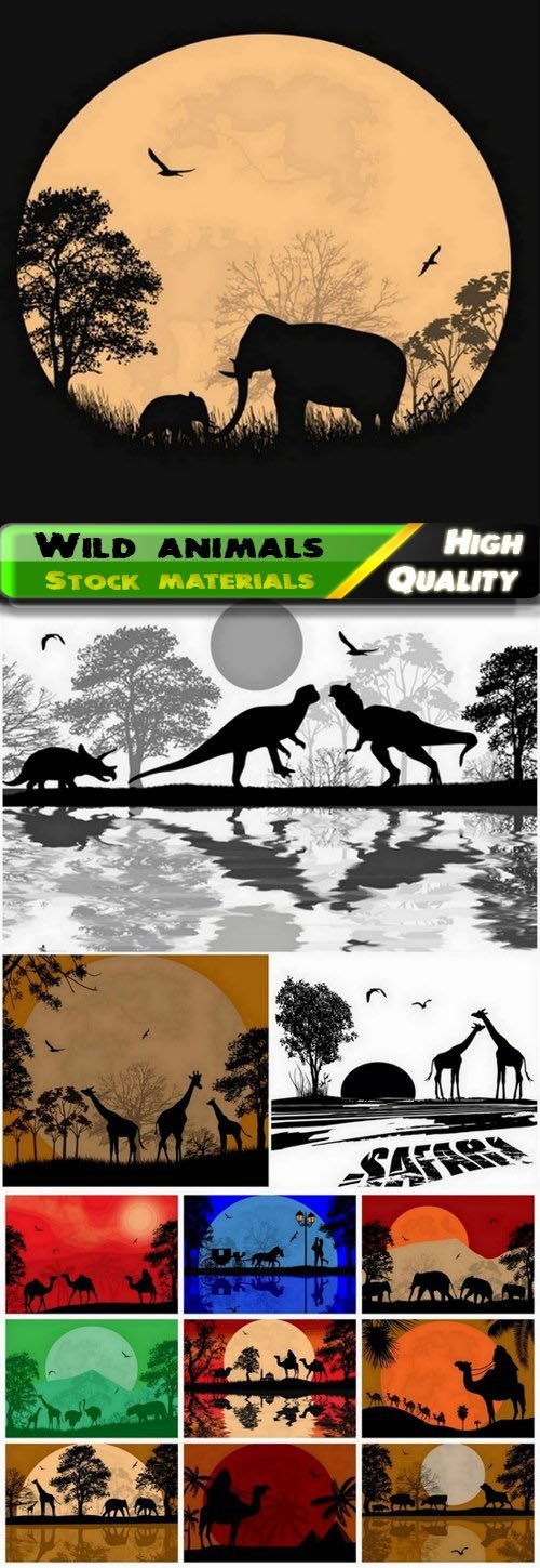 African nature landscapes with silhouettes of wild animals 13 Eps