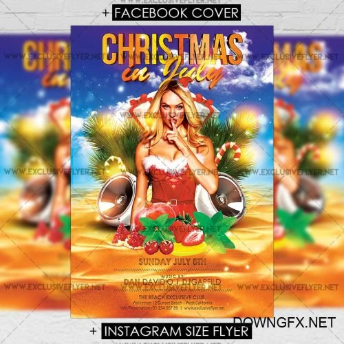 Premium A5 Flyer Template - Christmas in July