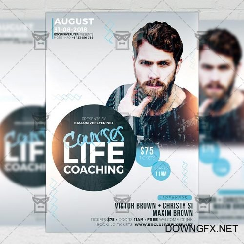Business A5 Flyer Template - Life Coaching Courses