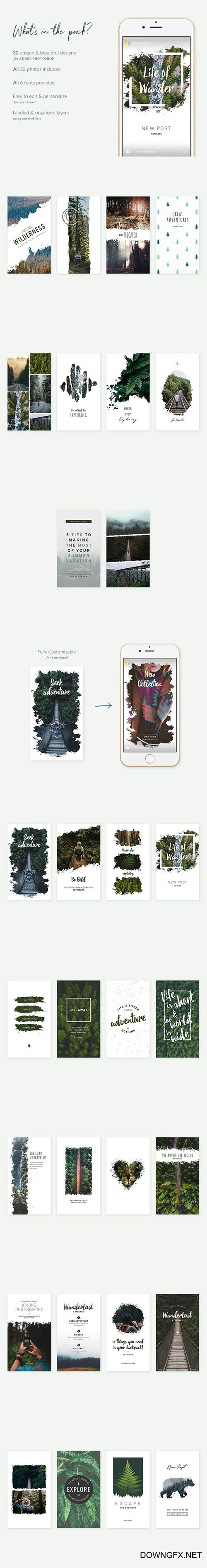 Forests Instagram Stories - 30 Beautiful Instagram Story templates designed in Photoshop