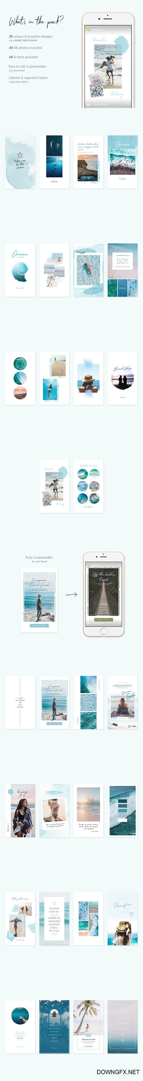 Oceans Instagram Stories - 30 Beautiful Instagram Story templates designed in Photoshop
