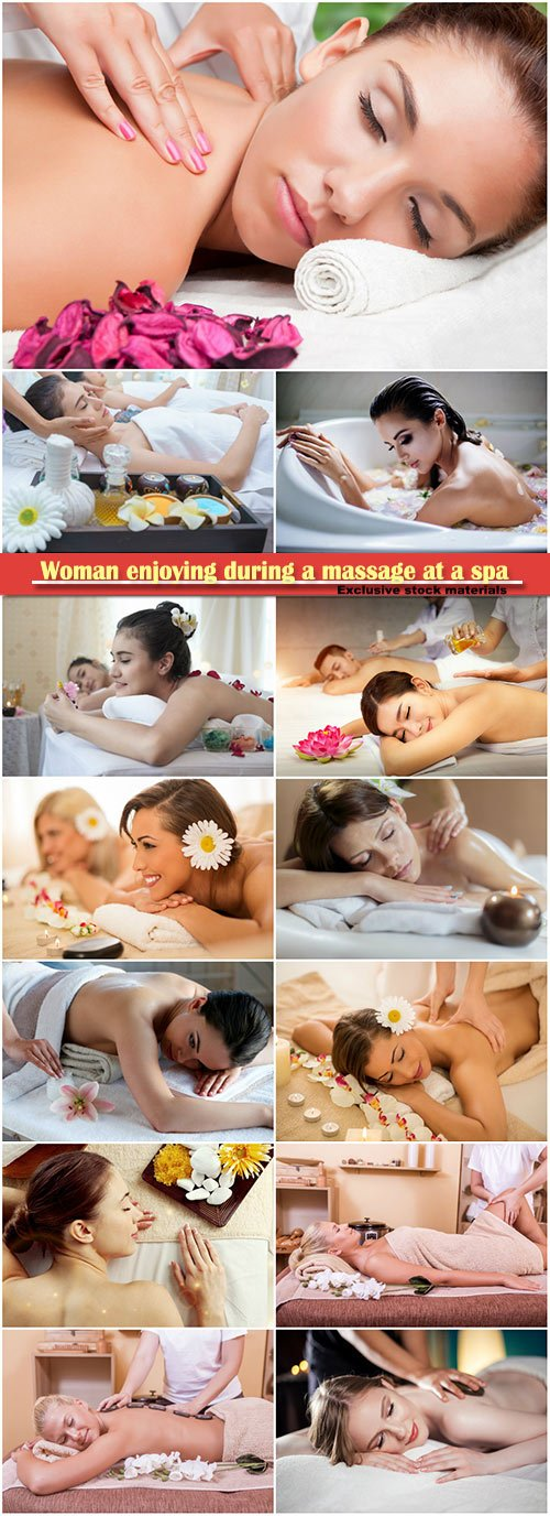 Woman enjoying during a massage at a spa
