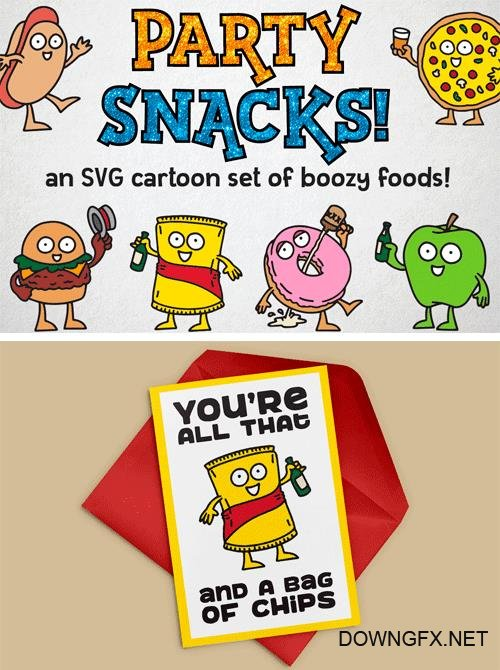 Designbundles - Party Snacks Cartoons 35490