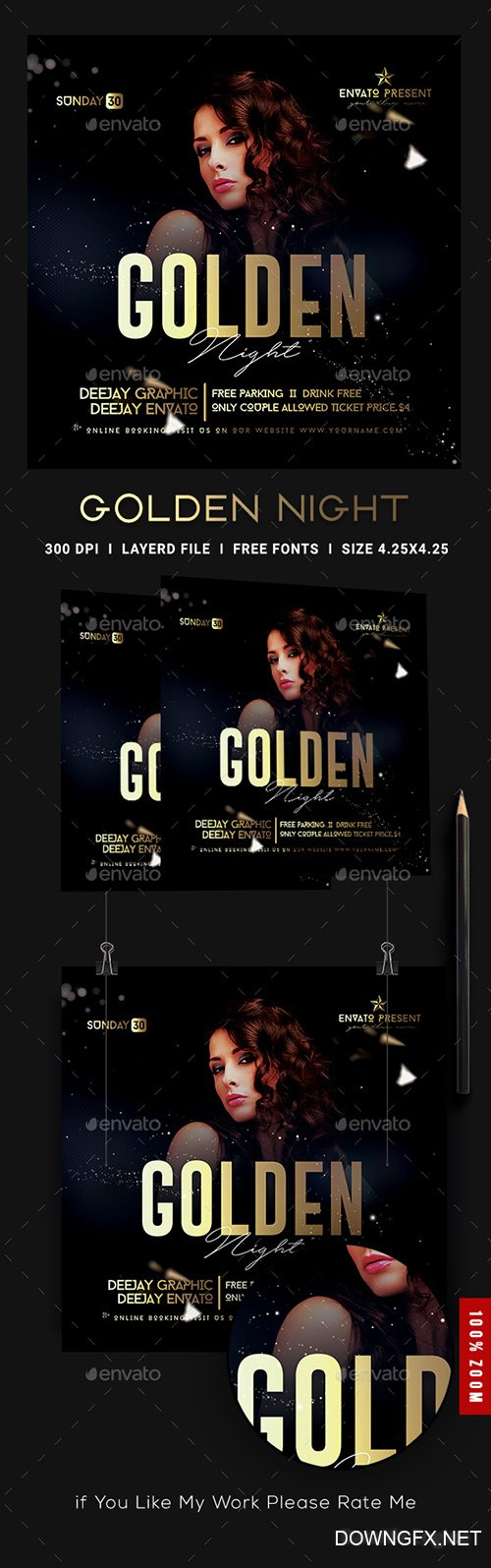 Golden Night Club Flyer Template 22598603