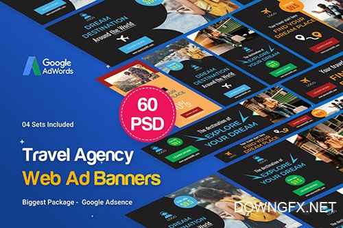 Travel Agency Banner Ad - 60 PSD [04 Sets]