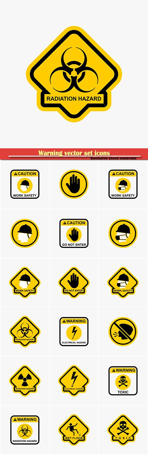Warning vector set icons