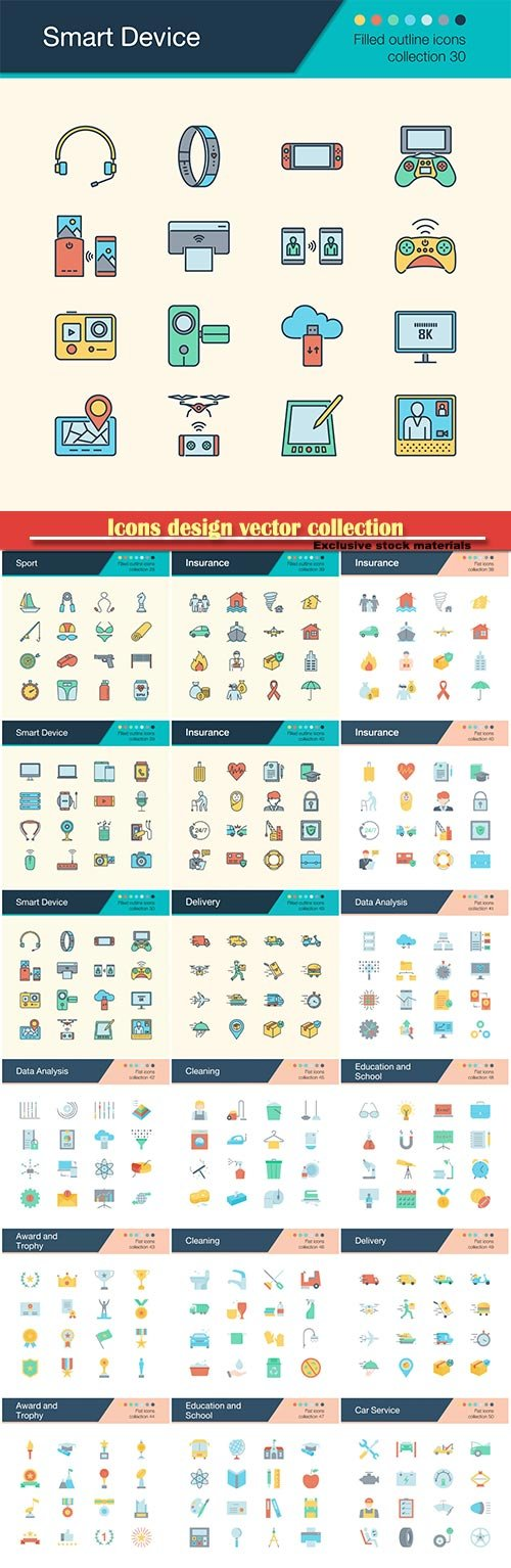 Icons design vector collection for presentation, graphic design, mobile application, web design, infographics