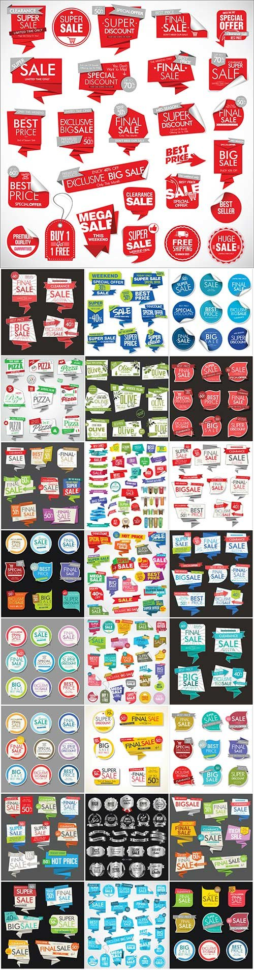 Modern sale vector banners and labels collection