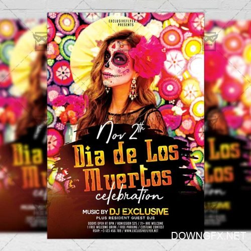 Seasonal A5 Template - Dia de Los Muertos Celebration Flyer