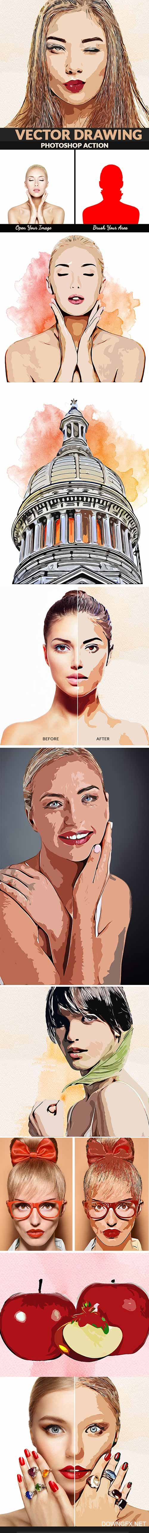 GraphicRiver - Vector Drawing Photoshop Action 22405523