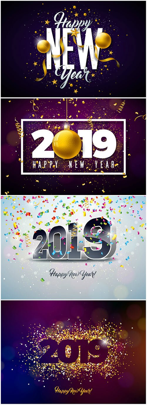 2019 Happy New Year vector illustration with typography lettering