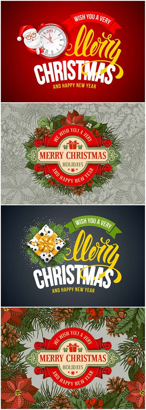 Merry Christmas and Happy New Year vector greeting card