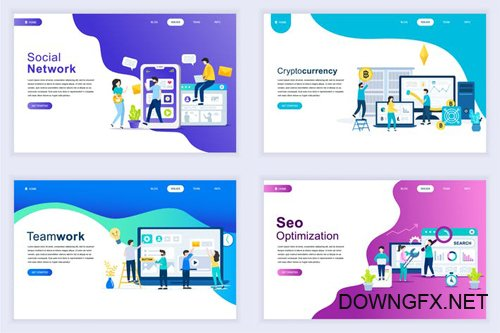 Landing Page Templates Flat Concept - 11