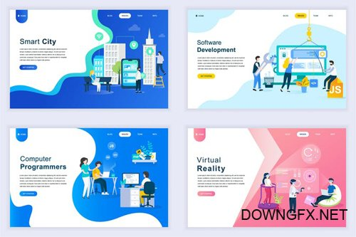 Landing Page Templates Flat Concept - 14