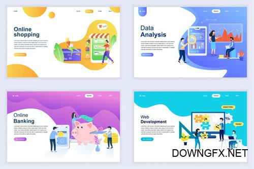 Landing Page Templates Flat Concept - 15