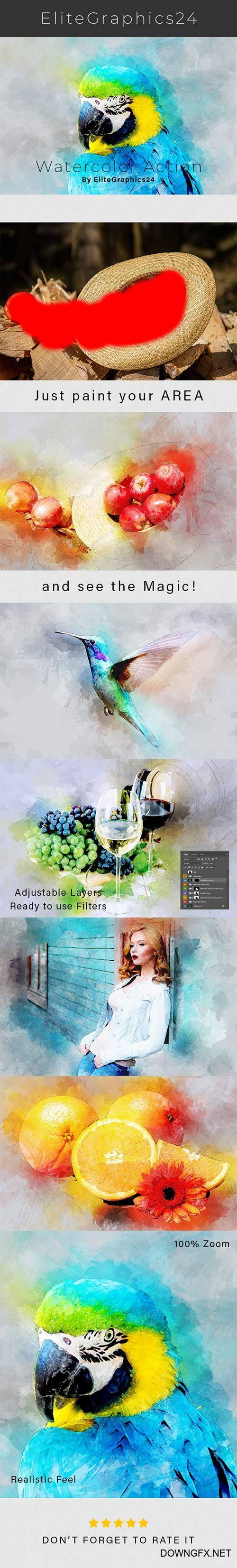GraphicRiver - Realistic Watercolor Photoshop Action 22342745