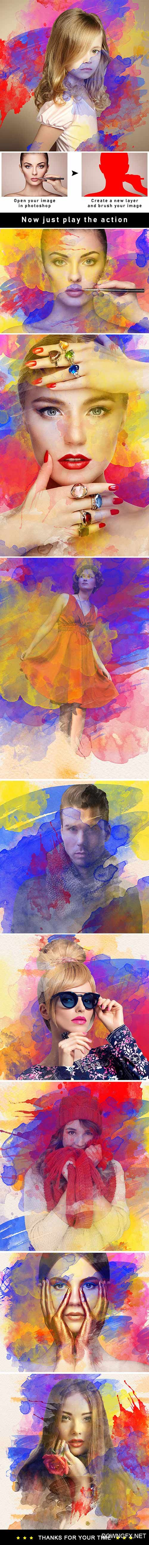 GraphicRiver - Water Color Splash Photoshop Action 22344254