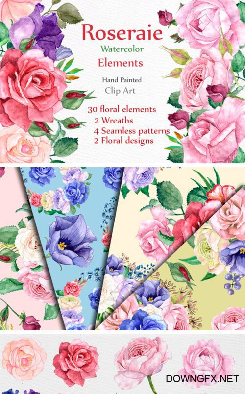 Creativefabrica - Watercolor Roses Clipart 481844