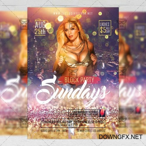 Club A5 Template - Sundays Block Party Flyer