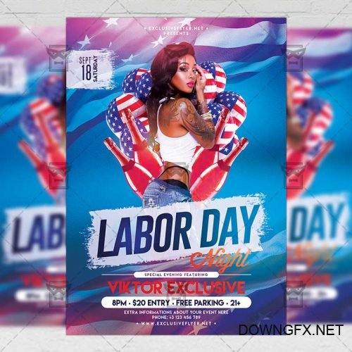 Seasonal A5 Template - Labor Day Night Flyer