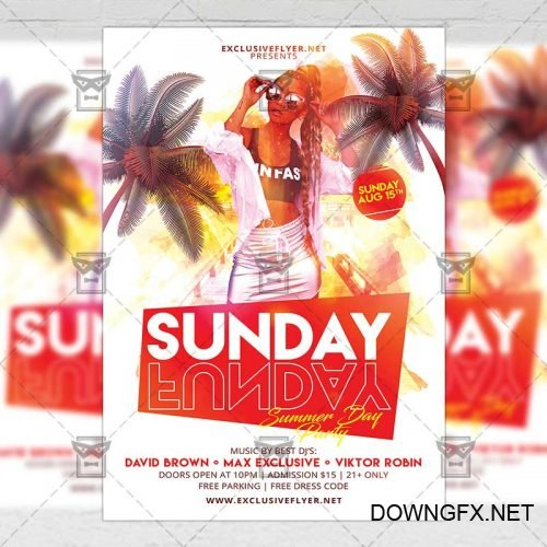 Club A5 Flyer Template - Sunday Funday