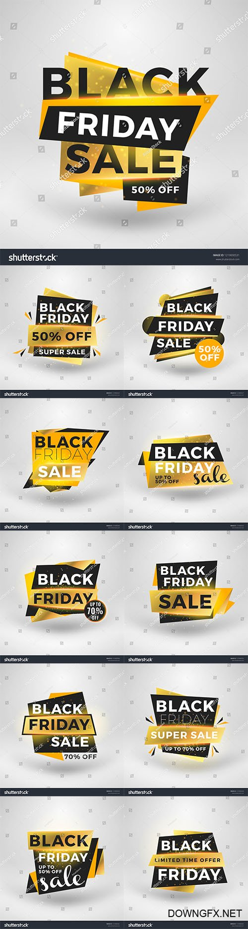 Vector Black Friday sale stickers. Discount banners