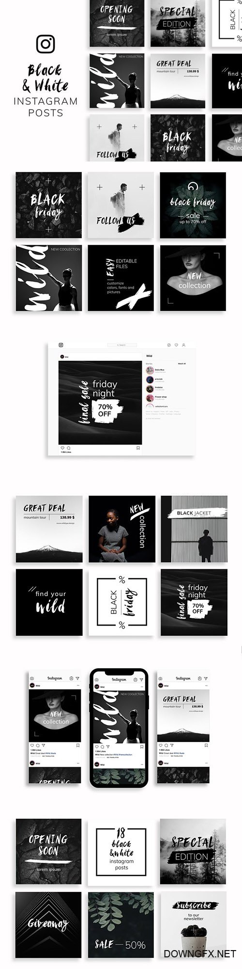 Black & White Instagram Posts Template