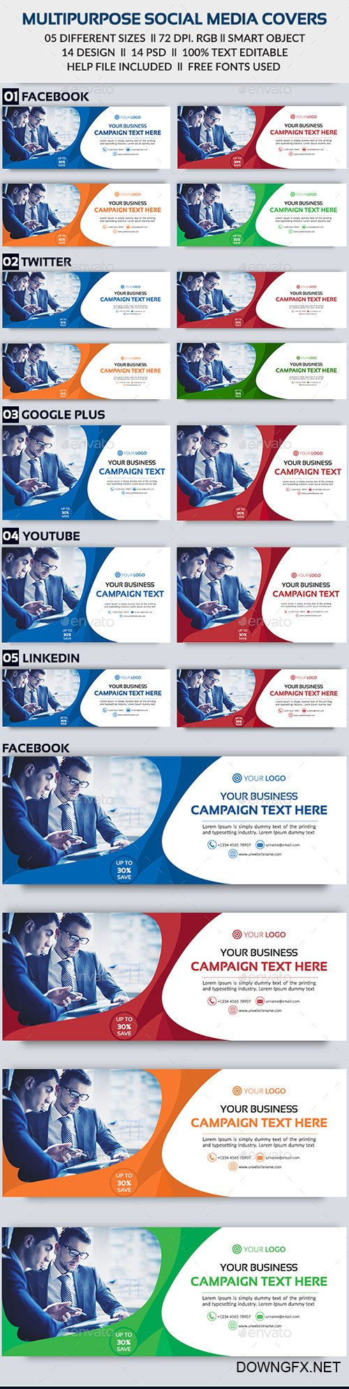 GraphicRiver - Multipurpose Social Media Cover - Bundle -14 Design 22245990