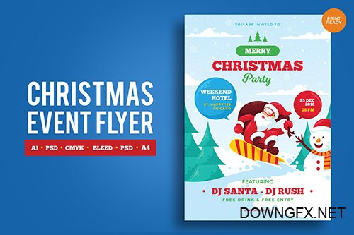 Merry Christmas Event Flyer PSD and Vector Vol.1