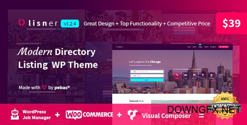 ThemeForest - Lisner v1.2.4 - Modern Directory Listing WordPress Theme - 22656544
