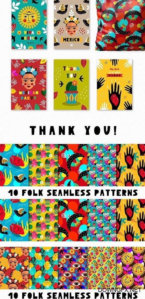 CreativeMarket - Love Frida - Mexican folk kit 2608834