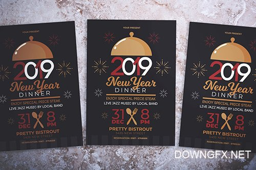 PSD New Year Dinner Party Flyer