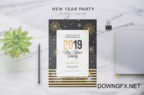 New Year Party Flyer PSD