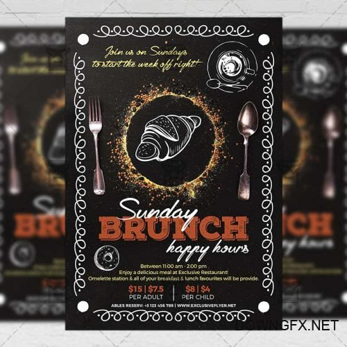Food A5 Template - Sunday Brunch Happy Hours Flyer