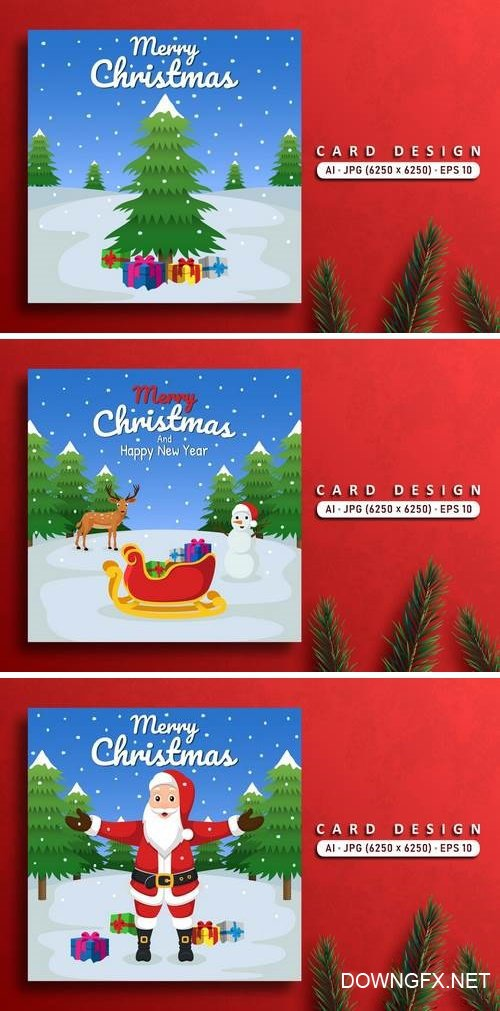 Merry Christmas Vector Card Bundle