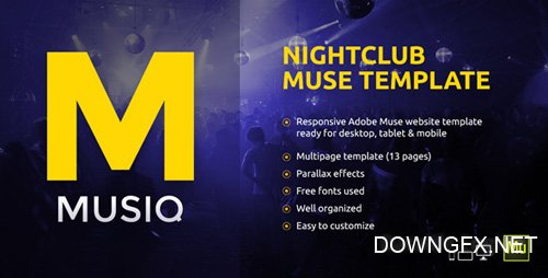 ThemeForest - Musiq v1.0 - Nightclub / Discotheque / DJ Bar Website Muse Template - 10470734