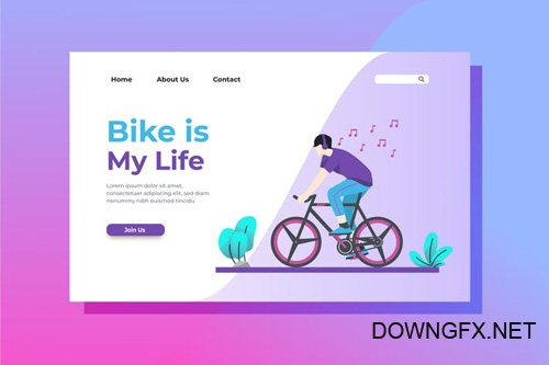 Bike is My Life Landing Page Illustration