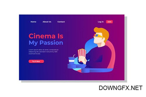 Cinema is My Passion Landing Page Illustration