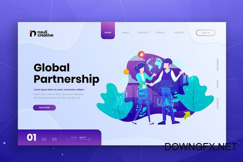 Global Partnership Web PSD and AI Vector Template